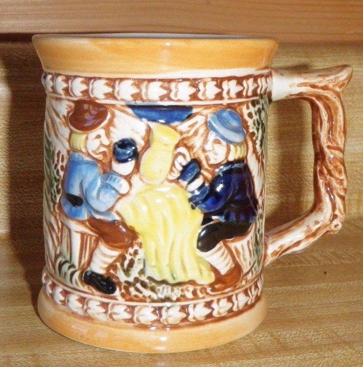 Vintage Mustache Guard Coffee Mug Tea Cup Stein German Men Drinking Hand Painted #NA