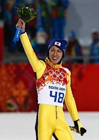 Noriaki Kasai - Silver medallist of ski jump men's large hill at the 2014 Winter Olympics.