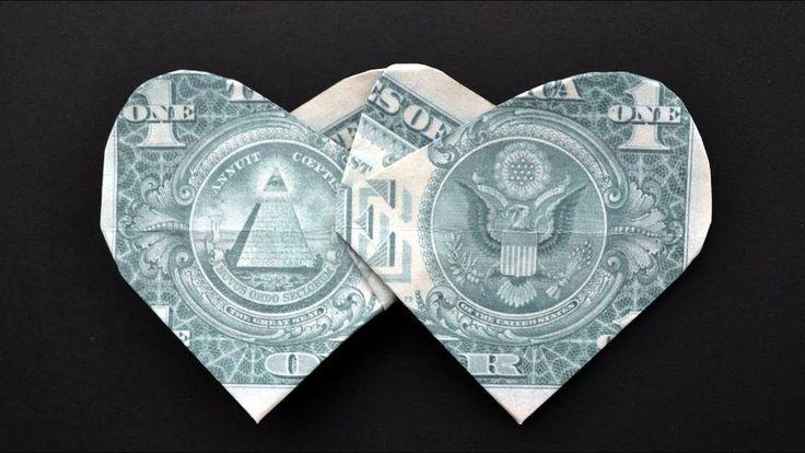 Money DOUBLE HEART   Origami Dollar Tutorial DIY b…
