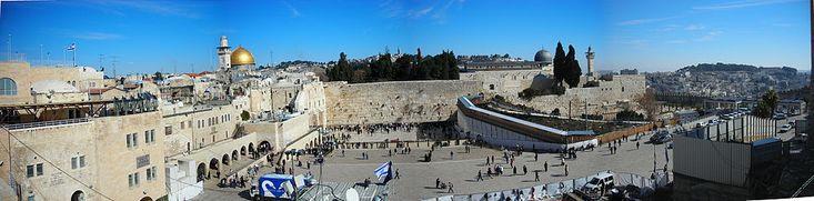 El Monte del Templo, sitio del Muro de los lamentos y del Domo de la Roca, santuarios para el judaísmo y el islam, respectivamente.