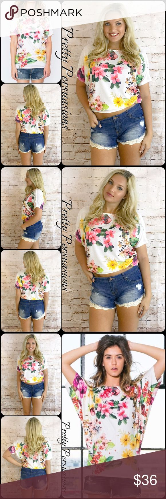 NWT Floral Dolman Sleeve Slouchy Top NWT Floral Dolman Sleeve Slouchy Top  Available in sizes S, M, L Measurements taken from a size small  Length:  Bust:  Waist:  Hips:   Features • very soft, breathable material  • loose, slouchy fit • dolman sleeves • ditsy floral print • short sleeves • rounded neckline   Made in the USA  Bundle discounts available  No pp or trades  Item # 1/107130360FT blush pink white green multicolored floral Pretty Persuasions Tops Tees - Short Sleeve