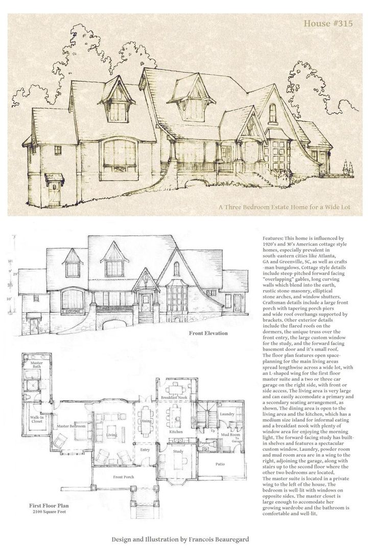 1073 best old houses images on pinterest floor plans tudor inspired asymmetrical design suitable for narrow or wide lot perspective portrait and floor plan drawn in pencil updated on oct for additional