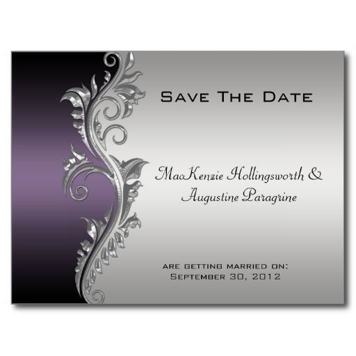 Teal and Silver Wedding Invitations | Vintage Purple Black and Silver Save The Date Postcard