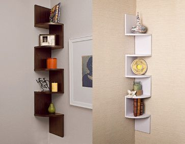 Attirant Laminated Veneer Corner Wall Mount Shelf Contemporary Wall Shelves