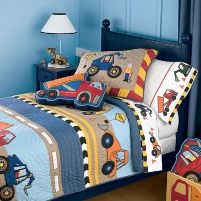 Image detail for -Construction Site Quilt and Appliqued Bedding - Kids  Decorating Ideas