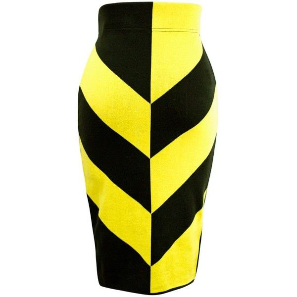 Queen of Hearts Pencil Skirt ($55) ❤ liked on Polyvore featuring skirts, knee length pencil skirt, yellow skirt, yellow pencil skirt and pencil skirts