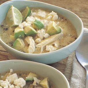 """Williams Sonoma Mexican lime soup with chicken and avocado.. Another pinner, """"Made this last week... The BEST thing that I have made from pinterest. I used a rotisserie chicken so it was super easy!! Make this!"""""""