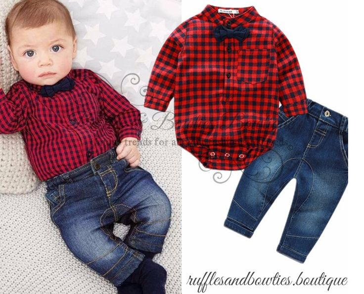 Pre order baby boys buffalo plaid shirt and matching for Matching denim shirt and jeans