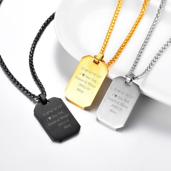 Personalized Dog Tag Necklace Free Engraved Custom Text 18k Gold