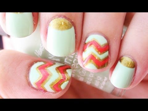 Mint and Coral Chevron Nails...love the colors!!
