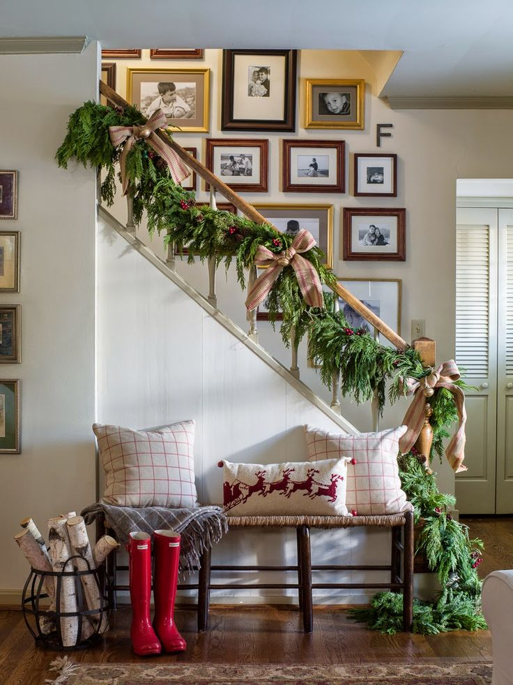 Awesome Christmas Entryway Decorating Ideas Part - 9: NINE + SIXTEEN: Midwest Living Magazine | Our Christmas Feature + A Little  Behind The · Christmas Stairs DecorationsChristmas EntrywayChristmas ...