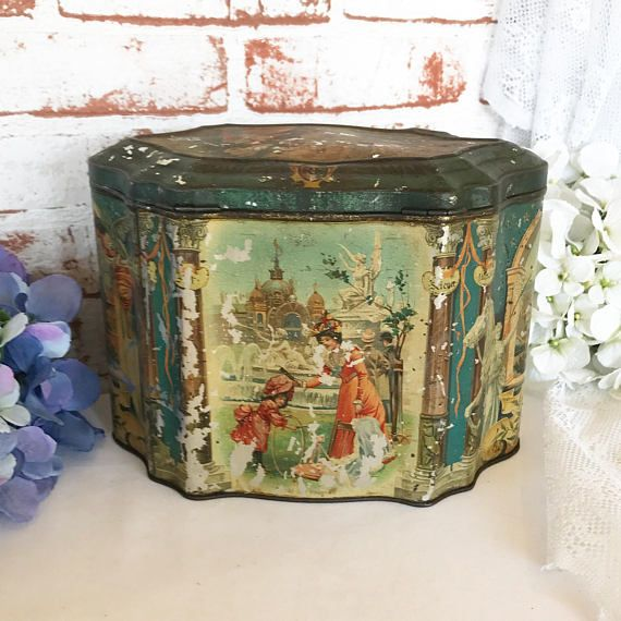 Rare Antique Parisian Mustard Tin Litho Box Victorian Decorative Vintage Advertising Moss Rimmington Paris Canister kitchen storage decor by WonderCabinetArts