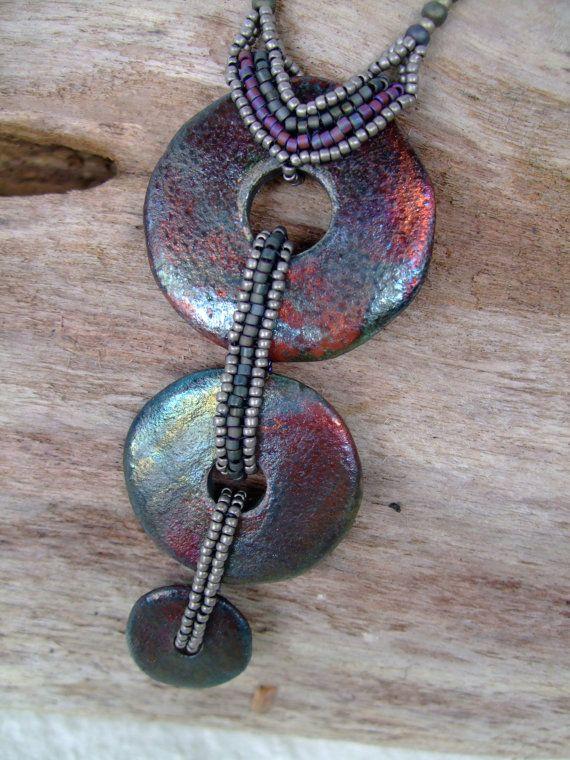 Raku Triple Donut Necklace with Antique Copper by PhantasmCreates