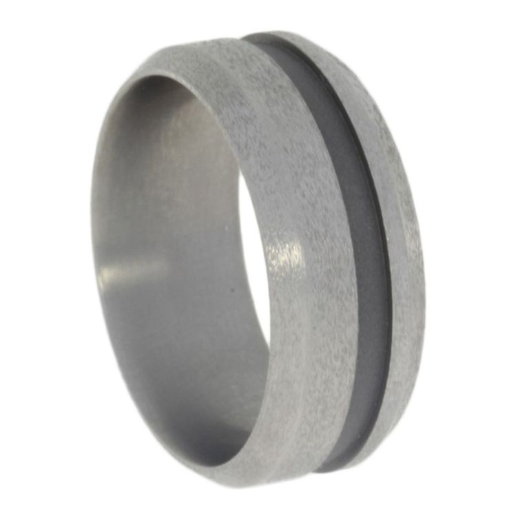 Beautiful Titanium ring with a sandblasted wide groove that contrasts the titanium rings natural shine Rings