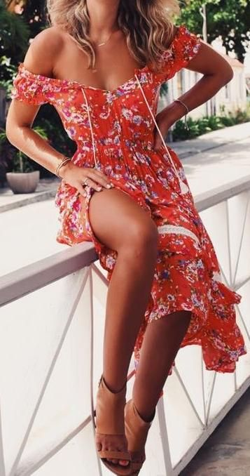 floral red print. summer dress.
