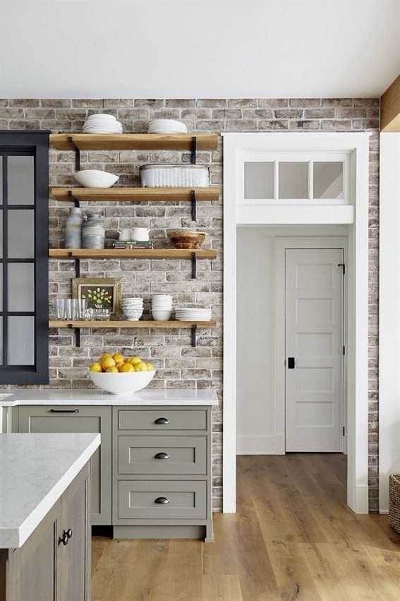 Brick Backsplash Is Savannah Grey Brick Veneer Reclaimed Reclaimed
