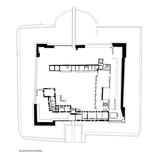 Renovation and Reconstruction of the Castle of Novara,First Floor Plan