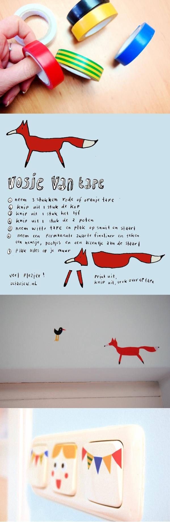 Make a fox out of tape, incl printable description