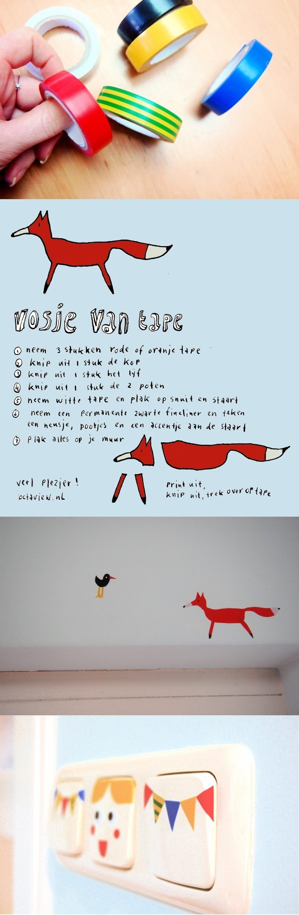 Make a fox out of tape, incl printable description