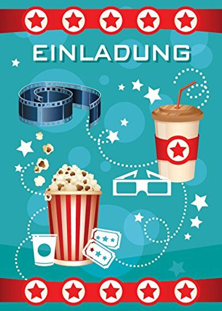 12 einladungskarten zum kindergeburtstag kino party blau