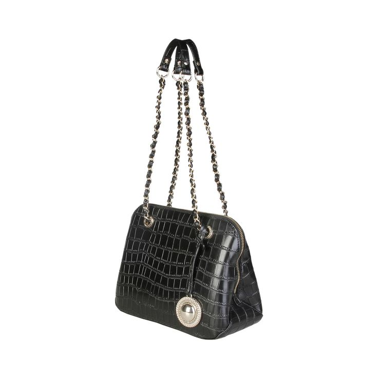 Versace Jeans – E1VPBBC2_75587 – Shoulder Bag of eco-leather has 2 handles, zip fastening, lined interior and a dust bag. Inside it, there are 2 zip pockets and patch pocket. It is of size: 29*20*11,5 cm.  https://fashiondose24.com