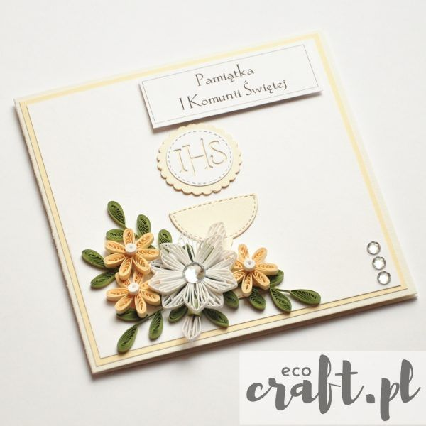 quilling, husking, first communion, handmade, DIY, paperart, greeting card, ecocraft.pl