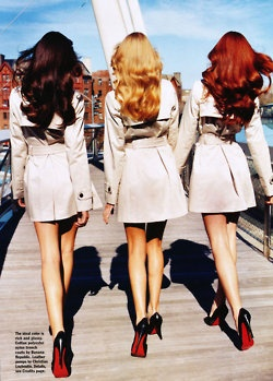 Brunette Blonde RedheadShoes, Fashion, Hair Colors, Friends, Red Hair, Blondes, Christian Louboutin, Redheads, Trench Coats