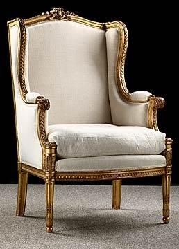 Sillon estilo francés antiguo Luis XVI dorado y tallado Bergere