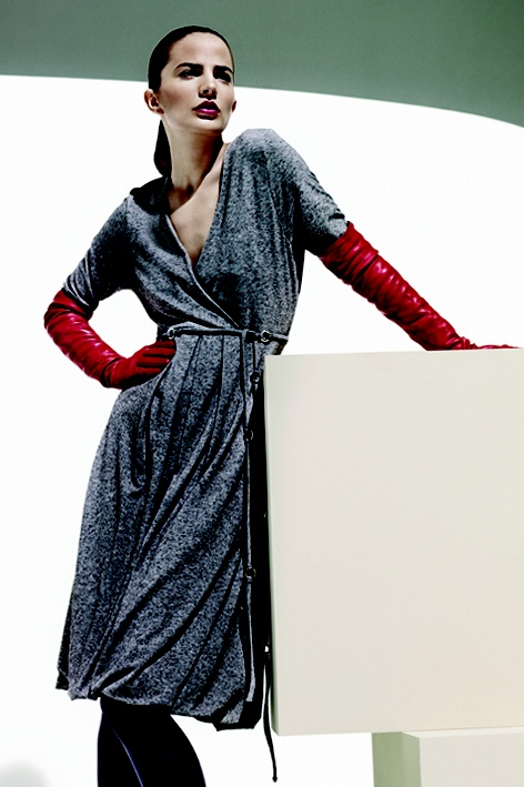 Long leather gloves and grey dress. Winter 2008.