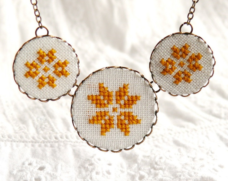 Cross stitch necklace with three yellow ethnic ornament by skrynka.