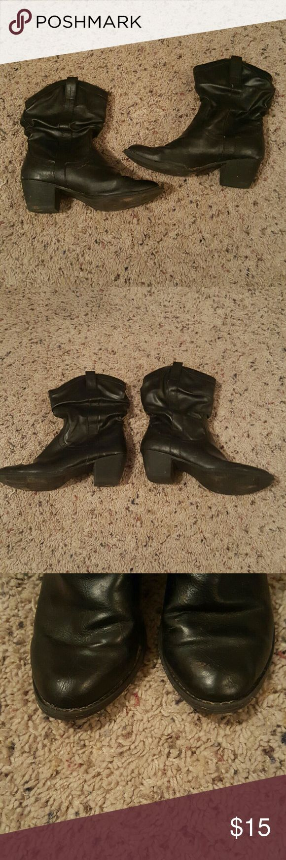 Black Dress Cowboy Boots Great condition! Cute with sun dresses in summer or jeans in winter! Shoes Ankle Boots & Booties