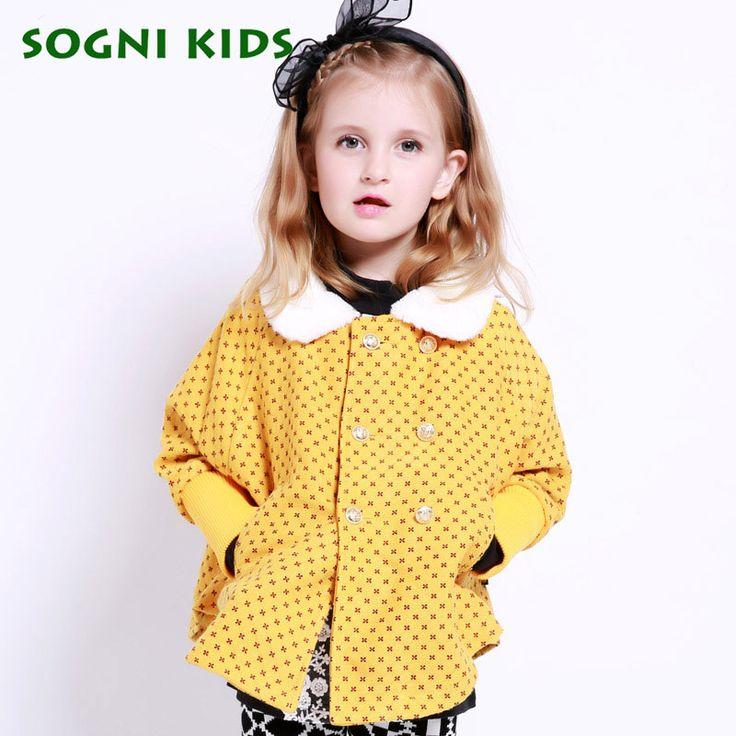 ==> [Free Shipping] Buy Best SOGNI KIDS Children Clothing For Girls Brand Fashion Floral Fur Collar Double-breasted short Jackets Thicken Girls Winter Coats Online with LOWEST Price | 32753707197