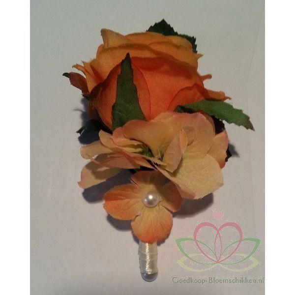 Corsage de luxe Oranje-Zalm Roos, Hortensia-Parels op Pincl - Goedkoop-bloemschikken