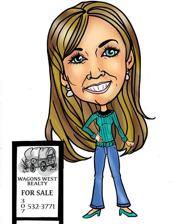 Custom Realtor Caricature Online Cartoon, Personalized Business Card Cartoon Portrait, Gift Digital Caricature Custom Cartoon Photo Online