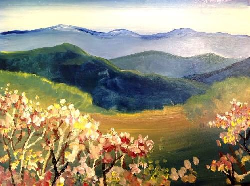 """""""Flowering Vista"""" offers you a gorgeous view with simple shapes and stippling!"""