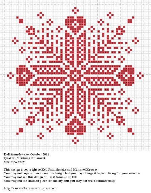 Quaker Christmas Ornament. Great site for xstitch ideas.