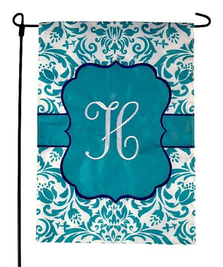 JEC Home Goods Blue Damask Initial Outdoor Flag | zulily