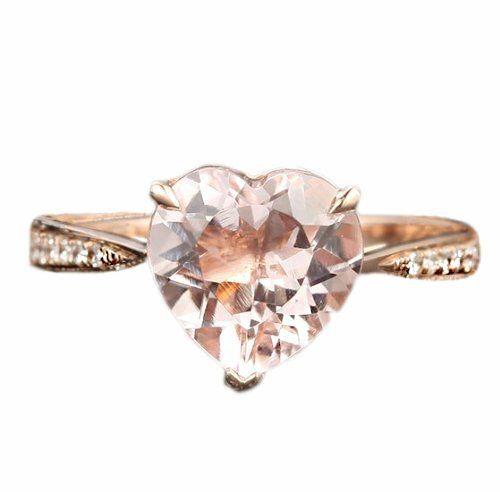 Claw Prongs Solid 14K Rose Gold Heart Shaped 8mm Morganite (Fancy Pink,VS) 0.06ctw Round Cut Diamonds Fashion Engagement Ring, http://www.amazon.com/dp/B00F96KIOI/ref=cm_sw_r_pi_awdm_drsYvb0VJZHHJ