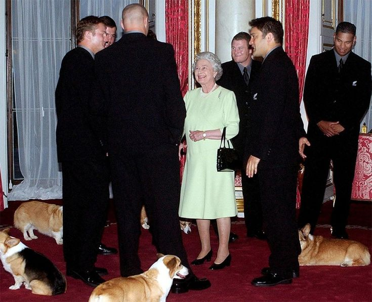 Wearing bright lime, Queen Elizabeth II ensures she is the centre of attention while meeting the All Blacks rugby team, including then-captain Taine Randall, at Buckingham Palace in November 2002. Photo / Getty Images