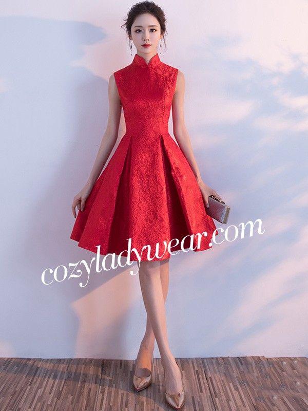 bb847f879 Red Fit & Flare Qipao / Cheongsam Wedding Dress   Performance ...