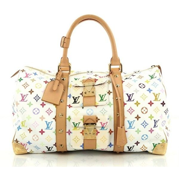 Pre-Owned Louis Vuitton Keepall Bag Monogram Multicolor 45 ($1,300) ❤ liked on Polyvore featuring bags, luggage and white