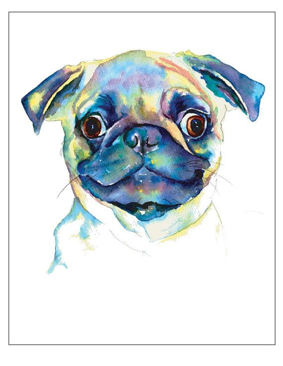 "$15.00 + shipping / Google Eyes Pug - 8"" x 10"" Print unframed reproduction of a watercolor painting - signed and dated (not shown in image)This print is ready to frame. Bright & Vibrant!Ships flat in protective packaging via USPS priority mail."