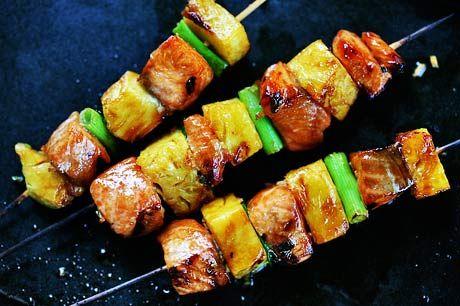 Salmon Teriyaki Skewers with Pineapple ~ Fresh salmon, marinated in teriyaki sauce and grilled on skewers with pineapple and green onions.  ~ SimplyRecipes.com