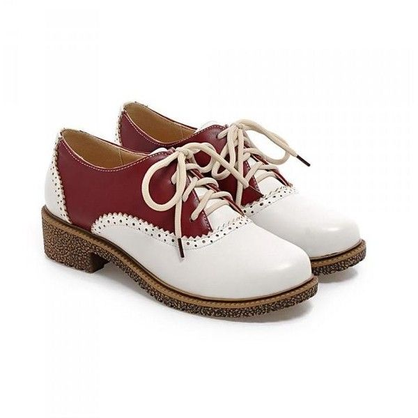 Two-Tone Brogue Oxfords ($36) ❤ liked on Polyvore featuring shoes, oxfords, blue oxford shoes, balmoral shoes, two tone shoes, 2 tone oxford shoes and polyurethane shoes