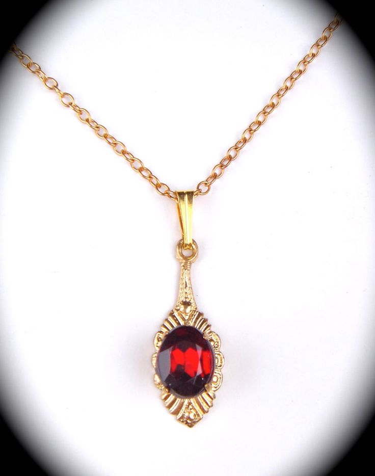 Vintage Antique Art Deco Czech Glass Pendant Necklace Rubin Red Gold Tone #Pendant