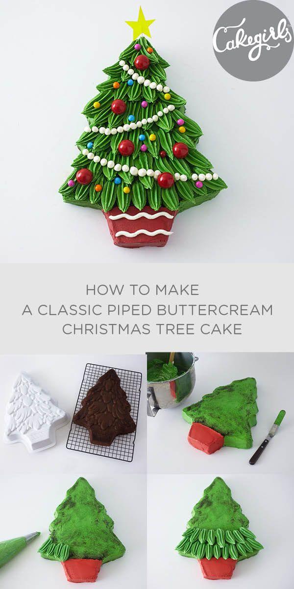 Classic piped buttercream Christmas Tree Cake | Cakegirls Step x Step More