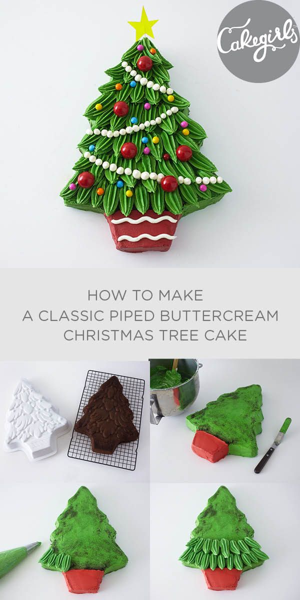 Classic piped buttercream Christmas Tree Cake | Cakegirls Step x Step