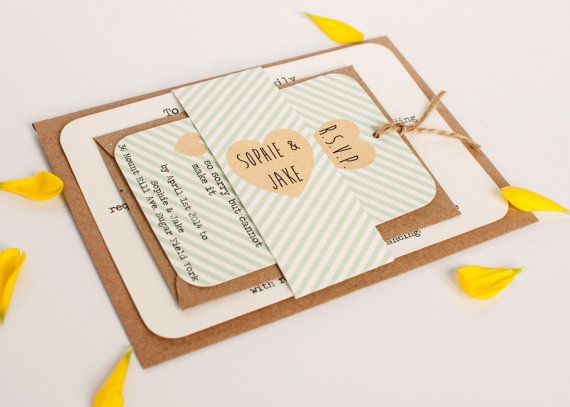 Mint peach pink coral gold with rounded corners + kraft envelopes for wedding invitations