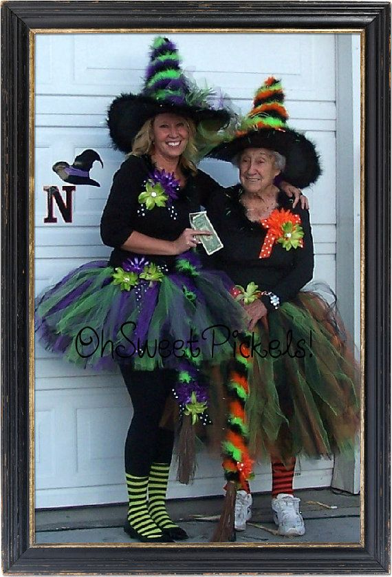 Deluxe - BEWITCHED - Halloween Costume ADULT Tutu & Witch Hat - Perfect For GIRLS of All Ages - Ladies, Women, Grandma, Etc