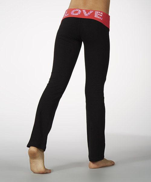 Look what I found on #zulily! Diva Pink 'Love' Fold-Over Yoga Pants - Girls by Marika #zulilyfinds